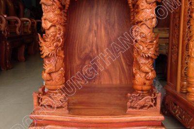 Bàn thờ ông địa gỗ hương đỏ cao cấp, Rộng 60cm x cao 88cm