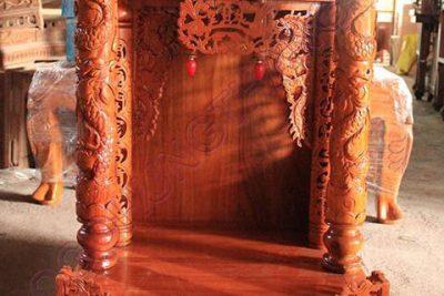Bàn thờ ông địa gỗ lim điện tử, Rộng 68cm x Cao 107cm